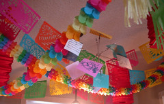 Birthday ceiling (Something To See) Tags: pink blue red green home paper decoration mexican diningroom lanterns decor picados