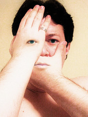 Trying to Hide (Dave Ward Photography) Tags: portrait usa selfportrait david eye me face dave self mouth us washington eyes hands hand unitedstates surreal unfound 2006 bellingham wa ward psychedelic rev smaragd revdaybu daveward daybu whatcom davidward davewardsmaragd pss:opd=1139822340 pss:opd=1139816828