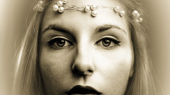 A demi-mots (Christine Lebrasseur) Tags: portrait people blackandwhite woman france eye art sepia canon 169 onwhite fr gironde lane saintloubes allrightsreservedchristinelebrasseur