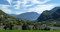 view to Riva (Fay2603) Tags: sky italy lake mountains green clouds landscape town riva monte bushes lightblue gardalake lagodigarda baldo fujixe1