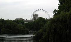 London Eye from St James Park (Jae at Wits End) Tags: uk eye water river circle canal industrial mechanical machine londoneye parliament regentscanal round stjamespark curve circular