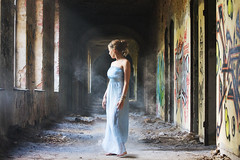 Lost In The Moment.... (akal_flickr) Tags: blue light mist girl beautiful lost graffiti places lovely gown beelitz heilstätten go2know