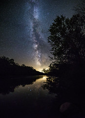 Shallow Water Muskegon River 2 (The Charliecam) Tags: panorama stars nightscape michigan astrophotography milkyway evart muskegonriver canon6d rokinon14mm