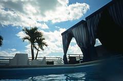 Cabanas From The Pool; South Beach, Florida (hogophotoNY) Tags: blue roof sky usa film beach wet water pool clouds analog canon us fuji florida south slide palm velvia a1 canona1 southbeach cabanas sureshot 100f canonsureshot fujivelvia100f notdead filmisnotdead fujislidefilm hogo hogophoto southbeachmiamiflorida canonsureshota1film