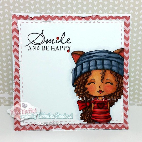A CAS card using the super cute Jr Hatter Vironda from #littlemissmuffetstamps