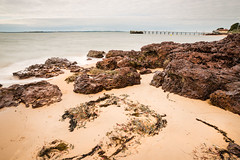 Beach at Cowes (laurie.g.w) Tags: seascape beach water rock port island bay coast sand weed long exposure bass jetty shoreline australia victoria western phillip cowes westernport waterscape