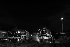 BH 52766crbw (kgvuk) Tags: barrowhill roundhouse engineshed railways trains steamtrain locomotive steamlocomotive steamengine nightphotography 45305 460 black5 5mt leander 45690 5xp jubileeclass