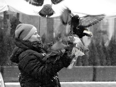 Dancing with pigeons (^^VVaclawik) Tags: woman pigeons poland street city winter birds