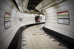 Bend But Don't Break (Douguerreotype) Tags: london sign metro tunnel uk underground urban british city bank tube subway tiles britain gb england