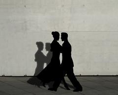 Shadow Dancing (ClaraDon) Tags: man shadow wall woman photoshop silhouette