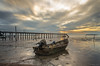 Sunset Boat (zulhanis.anua) Tags: boat sunset malaysia portdickson slowshutter sea shore beach dusk landscape