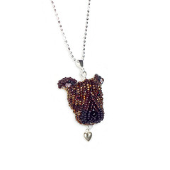 PIT BULL sterling silver necklace, beaded Pitbull Terrier pendant (The Lone Beader) Tags: beadembroidery beadwork seedbeads pitbull dogs etsy amazon handmade jewelry sterlingsilver valentine veterinarian dogjewelry beading beadedanimal necklace pendant brindle