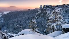 Die Kleine Gans (Rico Richter) Tags: schnee rathen gans kleine gansfelsen lilienstein sächsische schweiz sonnenuntergang winter snow saxony switzerland landschaft landscape nationalpark elbsandsteingebirge dresden elbe