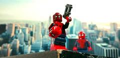 """With great power comes great irrisponsibility"" (Korpsical666) Tags: deadpool spiderman minifigure newyorkcity hero antihero lego custom"