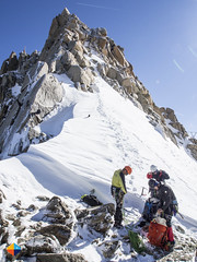 The start of the Arête des Cosmiques (HendrikMorkel) Tags: mountains alps mountaineering chamonix alpineclimbing arêtedescosmiques arcteryxalpineacademy2015