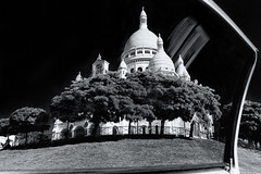 Sacre Coeur ([ raymond ]) Tags: door trees blackandwhite bw paris france church window beautiful car architecture landscape photography catholic photographer cathedral basilica religion sacrecoeur christian iconic raymondhaddad mg8844