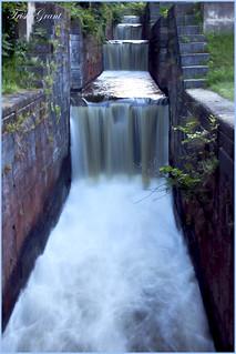 Waterfall along the locks
