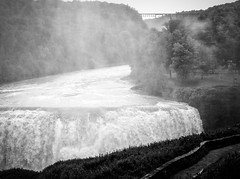 Fog at Middle Falls (LJS74) Tags: blackandwhite bw monochrome fog waterfalls letchworth letchworthstatepark upstatenewyork newyorkstate geneseeriver middlefalls portagevillebridge