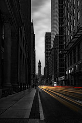 Light source (JohnNguyen0297 (slowly catching up)) Tags: longexposure lighttrails monochrome mono financialdistrict canada toronto downtown a6000 ilce6000 johnnguyen0297 johnnguyen ontario selectivecolor selectivecoloring vertical bnw lightstreaks