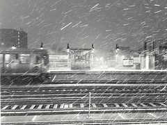 After the boarding (williamw60640) Tags: chicago chicagotransitauthority elevatedtrain publictransit snowstorm winter