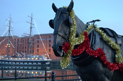 Festive horse sculpture in Liverpool (Tony Worrall) Tags: england northern uk update place location north visit area county attraction open stream tour country welovethenorth northwest unitedkingdom liverpool merseyside mersey scouse horse tinsel festive ship sculpture statue publicart