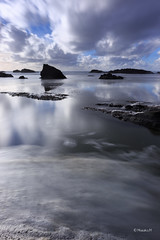 (Masako Metz) Tags: beach ocean seafoam oregon coast pacific northwest usa america landscape nature seascape coastline shoreline reflection long exposure rainyseason winter weather water rocks clouds