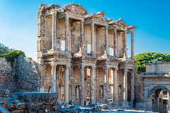 september 08,2016,Turkey,Selcuk,Ephesus ancient city.Celsus library, (yuliakupeli) Tags: greece places aegean amphitheater ancient antique archeology architectural architecture arts celsus city civilization classical clear column columns culture day efes ephesus famous grecoroman greek historic history izmir landmark library marble monument old pillars place roman ruin sculpture sky stone style temple tourism touristic travel trip turkey