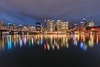Summer Night in the City (Xenedis) Tags: australia bluehour buildings city cloud cocklebay darlingharbour dusk evening harbour newsouthwales night nsw pyrmontbridge reflection skyline skyscrapers sydney twilight water