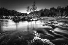 Smooth Flow and Dark Glow (Kurt Evensen) Tags: landscape winter nature water stream le vestfold cold norway longexposure waterfall kjærrafossen bw blackandwhite runningwater monochrome