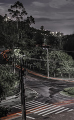Follow the path of light! (heitorpergher) Tags: night cloudy streetlights carlighttraces green nature landscape brazil santa catarina florianópolis carvoeira