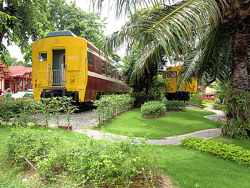 Hua Hin Railway Station in 2010, old carriages on display,  Hua Hin, Prachuap Khiri Khan Province, Thailand.