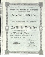 FABBRICHE RIUN. DI CARROZZE C. CASTAGNA & C. (scripofilia) Tags: 1913 ccastagnaampc carrozze castagna fabbriche fabbricheriunitedicarrozze riunite