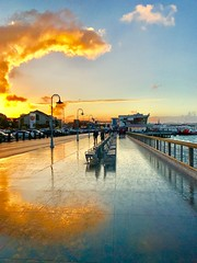 ‪Sunset at Fisherman's Wharf ‬ (shollingsworth) Tags: sanfrancisco sunset hollingsworth iphoneography fineartphotography stephenhollingsworth reflection boardwalk street clouds sf california explore
