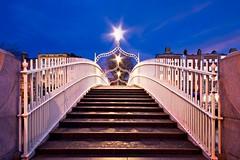 Ha'penny Bridge Steps at Night (BOCP) Tags: hapennybridge bridge symmetrical symmetry dublin ireland steps bluehour night city citylights cityscape urban architecture travel liffey quays empty
