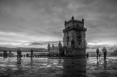 Belém (.noctifer) Tags: belem portugal lisboa lisbon europe outdoor iberian sky people human monochrome tower castle blackandwhite torre capital fortress sea building water sunset architecture