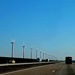 Dutch Motorway (pom.angers) Tags: panasonicdmctz10 march 2011 motorway highway roadpicture lelystad flevoland netherlands europeanunion windturbines sustainabledevelopment takenfromamovingvehicle