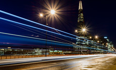 Beautiful Chaos... (Aleem Yousaf) Tags: shard city stars light morning blue hour long exposure reflection river thames cityscape photo walk 1835mm wideangle d800 skyline bridge architeture outdoor trails traffic london bus chaos