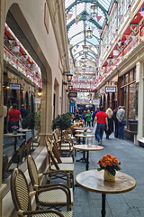 Castle Arcade (Jainbow) Tags: flowers cardiff shops cafes bunting retailers castlearcade jainbow