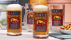 Jake's Barbecue personalized beer mug stein and pretzels in a bowk on a table (PersonalCreations.com) Tags: beer glass table bowl snack mug treat stein pretzel