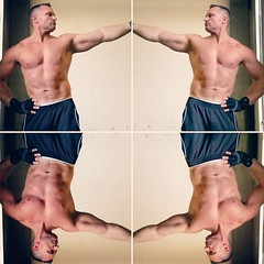 delts contraction (ddman_70) Tags: shirtless pecs workout sweatpants