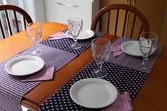 Mesa arrumada (ceciliamezzomo) Tags: pink kitchen digital table purple handmade napkin rosa lilac fabric patchwork mesa cozinha polkadot roxo petit posta tecido lils guardanapo po