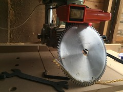 It is nice having a newly sharpened blade for the Radial arm saw