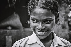Expression (Sougata2013) Tags: portrait bw india girl smile face village expression tribal bengal westbengal nikond3200 tribalvillage birbhum santiniketan sonarbangla