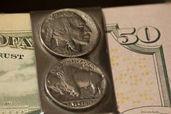 Money Clip (scottnj) Tags: 346366 cy365 365project money moneyclip buffalonickel nickels 50 fifty fiftydollars redditphotoproject reddit365 tabletop photography americanmoney indian macro