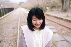 Young woman walking on dead railroad track (Apricot Cafe) Tags: 20s asianethnicity japan japaneseethnicity kyoto minikyoto2016 sigma35mmf14dghsmart autumn autumnleaves beautyinnature change charming cheerful enjoying foliage freshness happiness hope japanesefallfoliage japanesemaple leaves mapleleaf nature oneperson onlywomen outdoors people railroadtrack refreshing selectivefocus tranquility traveldestinations walking wishing woman youngadult