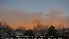 December 5, 2016 - Sunrise paints the low clouds to the west. (ThorntonWeather.com)