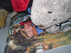 Teeny tiny bit of damidge... (pefkosmad) Tags: jigsaw puzzle art painting fresco parnassus raphael clementoni museumcollection vatican hobby pastime leisure 1000pieces used complete cute soft stuffed toy plush fluffy tedricstudmuffin teddy bear ted