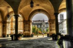 Piazza Loggia (giannipiras555) Tags: brescia torre fiori piazza orologio portici
