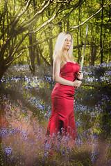 bluebell warrior (BarryKelly) Tags: samari sword smoke red satin blonde girl woman lady blue bell warrior silk forest ireland wexford light ray reddress redgown