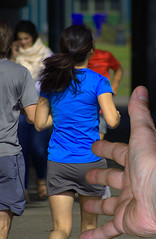 Running Away (swong95765) Tags: joggers runners running run woman female lady athlete exercise fingers hand park